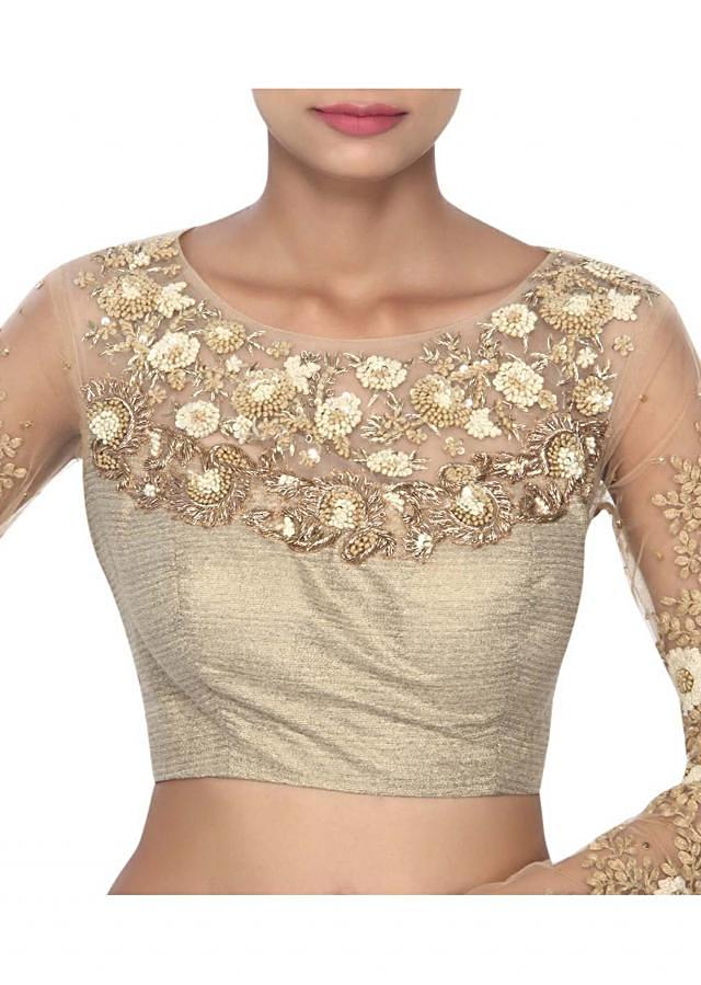 Beige blouse enhanced in french knot embroidery only on Kalki