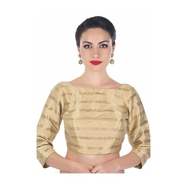 Beige blouse in silk with copper color weave in stripes motif only on Kalki