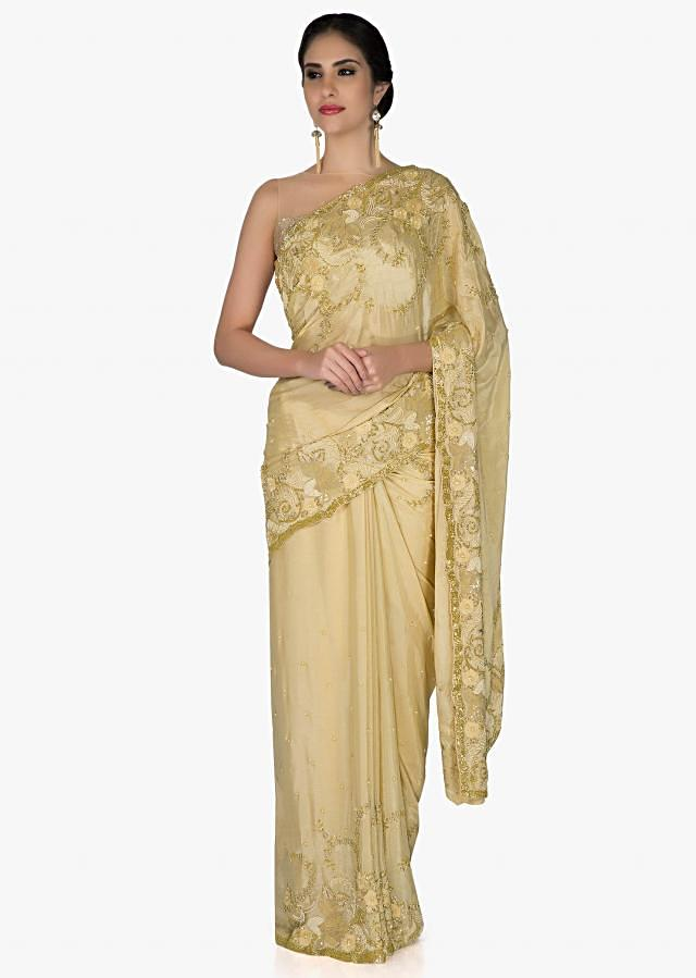 Beige Chiffon Saree and Blouse Crafted with Zari, Cut Dana and Moti only on Kalki