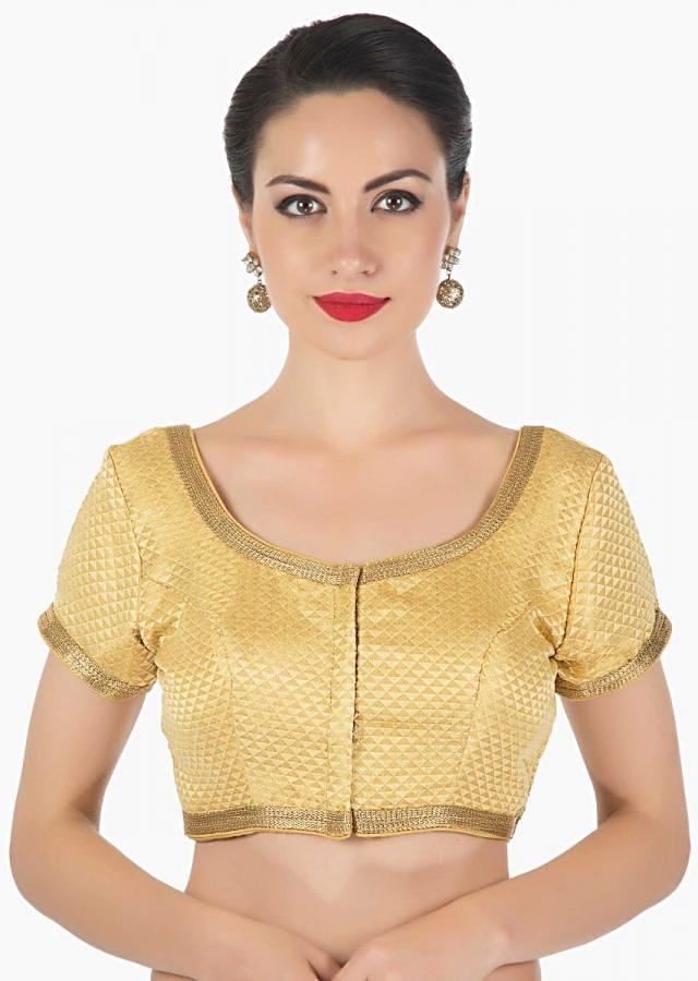 Beige fancy lurex blouse highlighted in gold lace only on Kalki