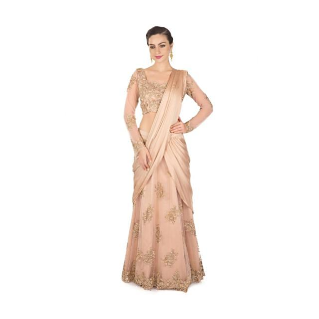Beige gold lehenga saree with pre stitched pallav and sequin embroidery only on Kalki
