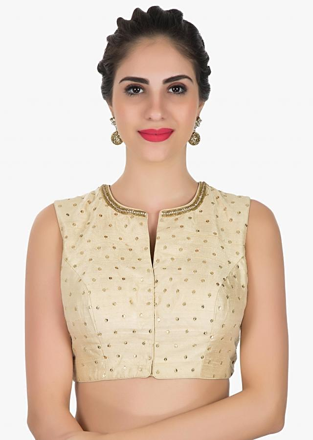 Beige Raw silk blouse with sheer back embellished in zardosi and cut dana work only on Kalki