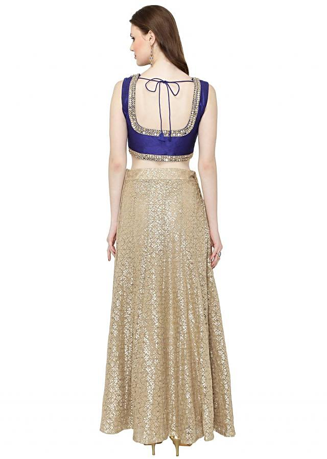 Beige Royal Blue Gotta Patti Patch Work Lehenga Choli only on Kalki