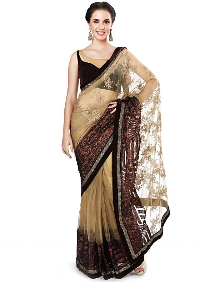 Beige saree embellished in thread and sequin only on Kalki