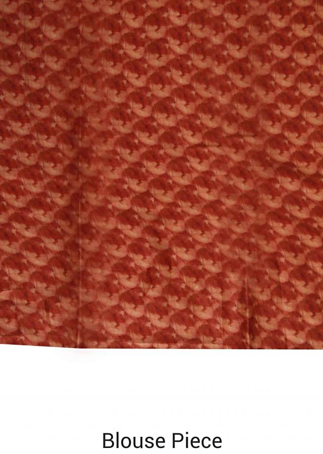 Beige saree in tussar with floral and leaf print only on Kalki