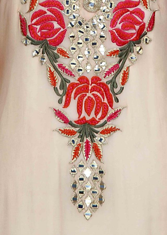 Beige semi stitched suit featuring in mirror and resham embroidery only on Kalki