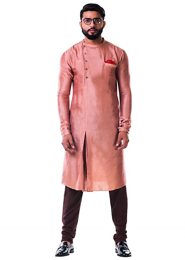 Beige silk pleated kurta set with side buttons only on Kalki