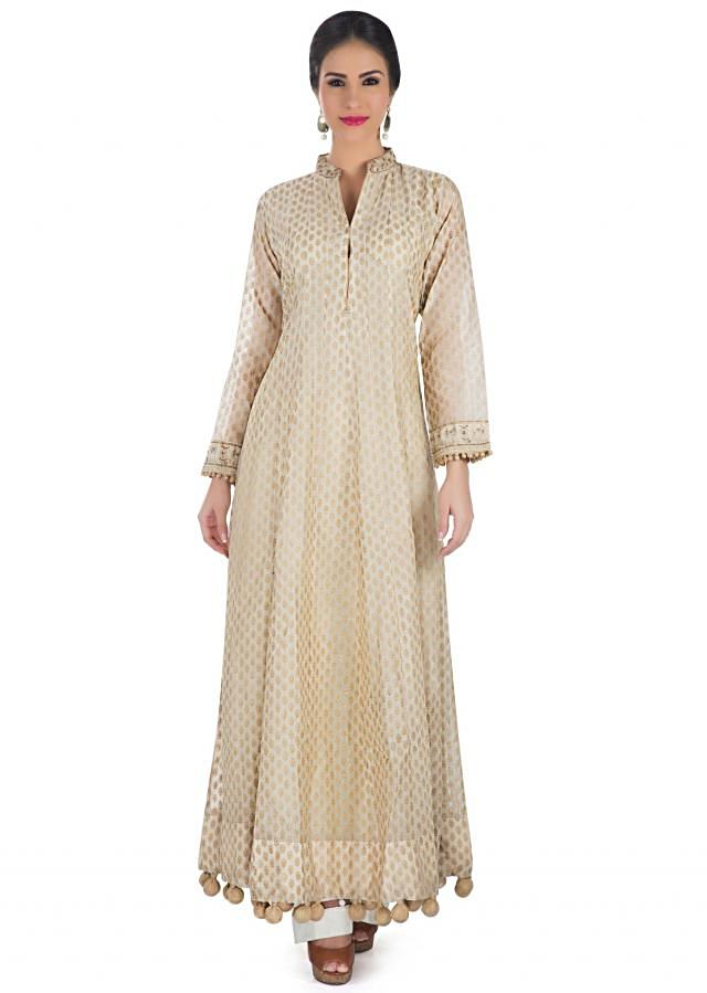 Beige Silk Top Featuring Ethnic Foil Prints and Chiffon Dupatta only on Kalki