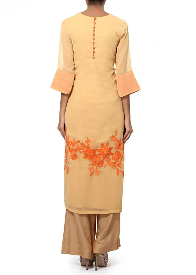 Beige straight suit adorn in resham embroidery only on Kalki