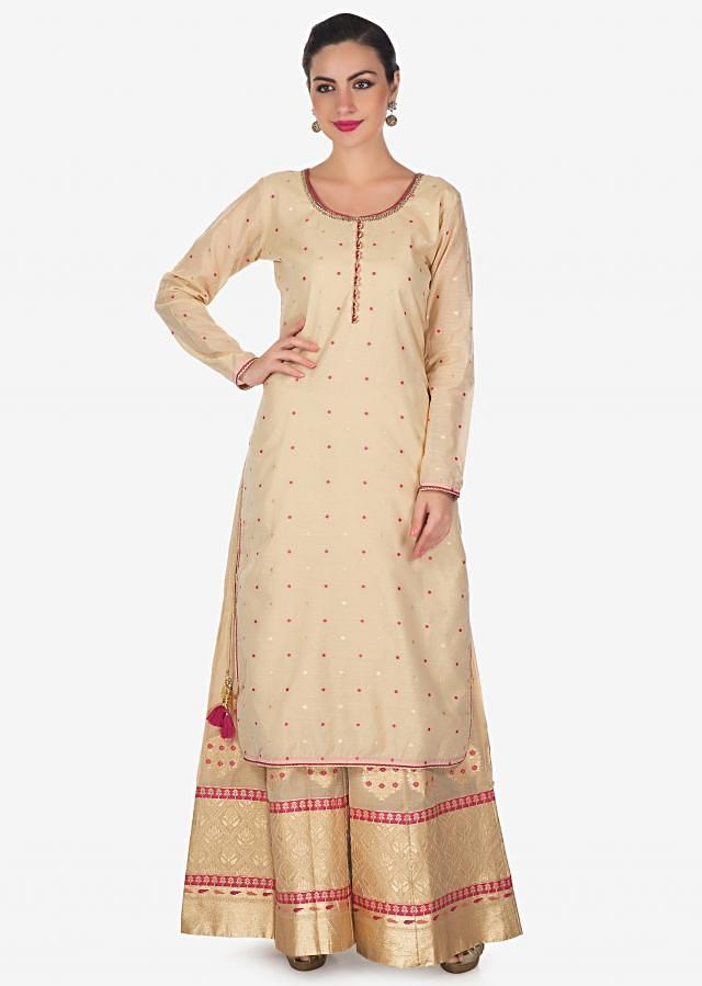 Beige straight suit in silk with palazzo pant in brocade silk only on Kalki