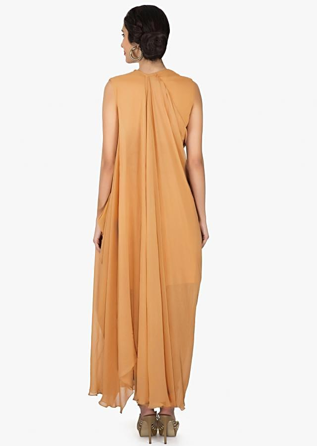 Ochre suit in georgette with fancy drape and embroidered zari butti only on Kalki