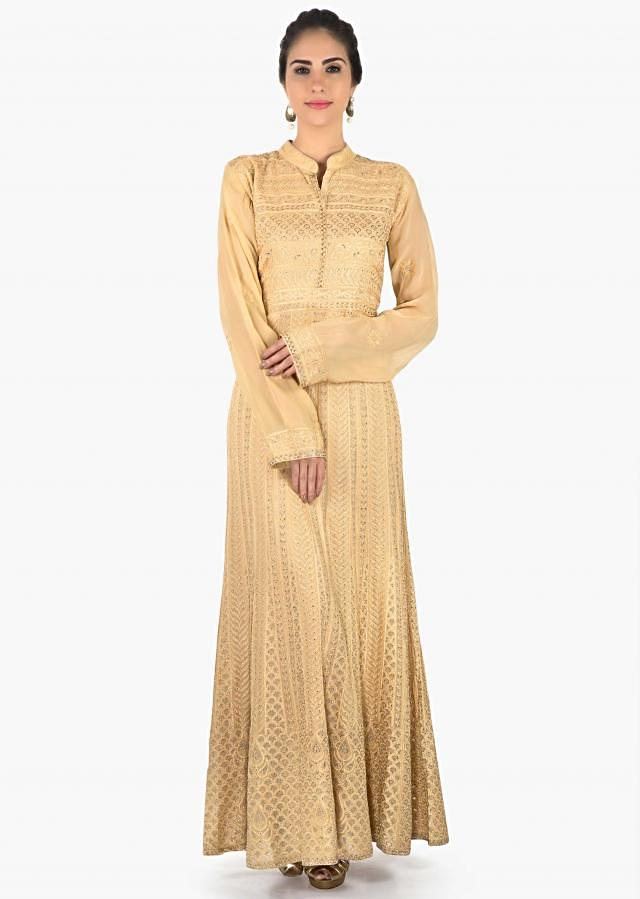 Beige suit in georgette with resham and thread embroidery only on Kalki