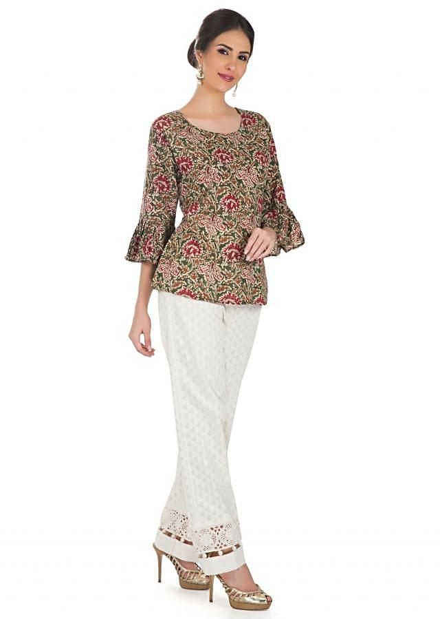 Multi Colored Top With Bell Sleeves And Kalamkari Print Online - Kalki Fashion