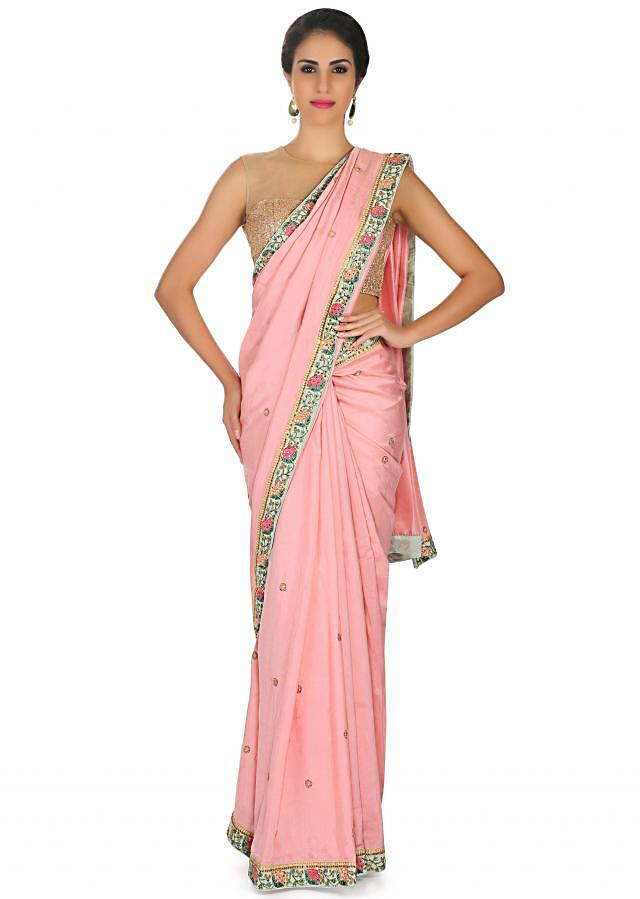 Berry pink saree in georgette with sequin butti and contrast border only on Kalki
