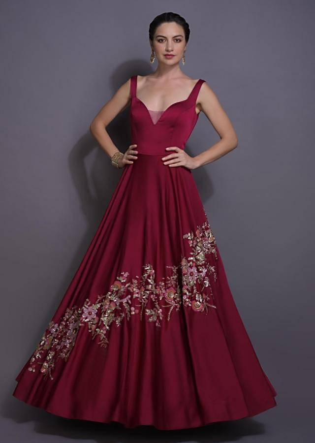 Berry Red Gown In Milano Satin With Embroidery Work In Floral Pattern Online - Kalki Fashion