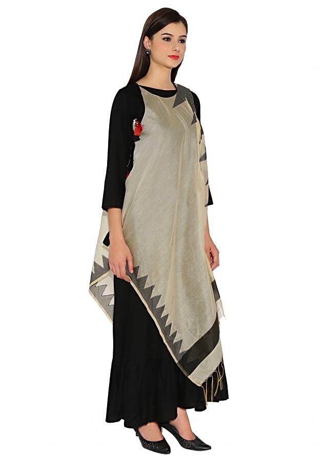 Black and Cream Cotton, Silk Kurti With Asymmetric Silhouette And Temple Motif Thread Tassels Bohemian Style Only On Kalki