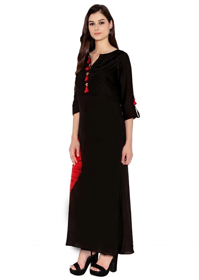 Black & Red Cotton Kurti With Ankle Length Kurti With Tassels On Bottom Only On Kalki