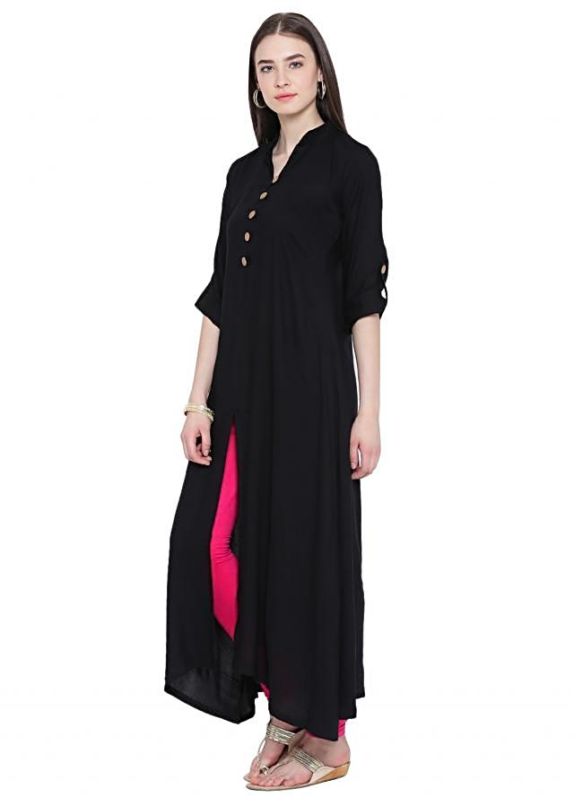 Black A Line Kurta with Front Slit