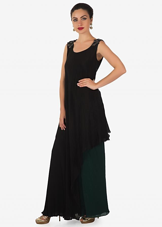 Black A line suit with asymmetric hem line in sequin and cut dana embroidery only on Kalki