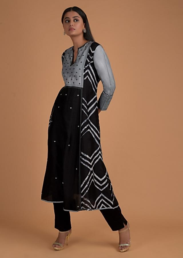 Black A Line Suit With Powder Blue Sleeves And Yoke Adorned With Geometric Print Online - Kalki Fashion