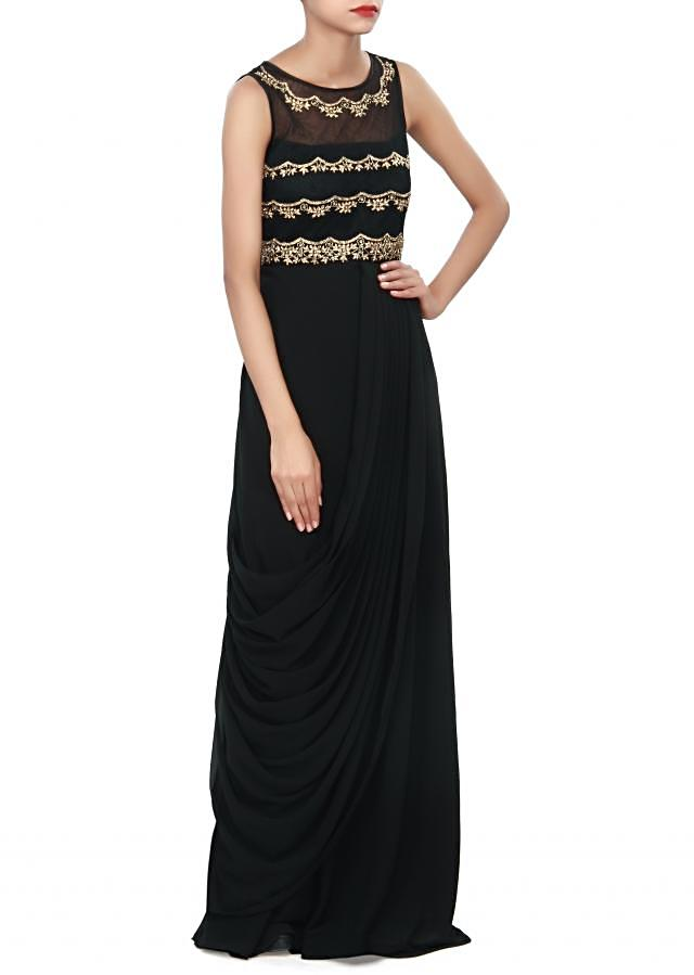 Black kurti adorn in kundan embroidery only on Kalki