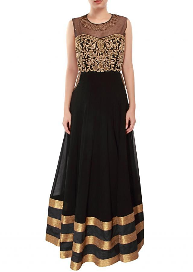 Black anarkali suit adorn in zari French knot embroidery only on Kalki
