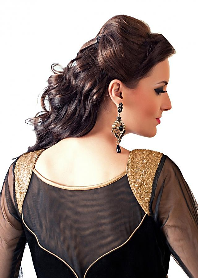 Black anarkali suit embellished in aari and sequence embroidery