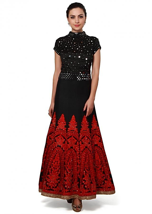 Black anarkali suit embellished in mirror and thread embroidery only on Kalki