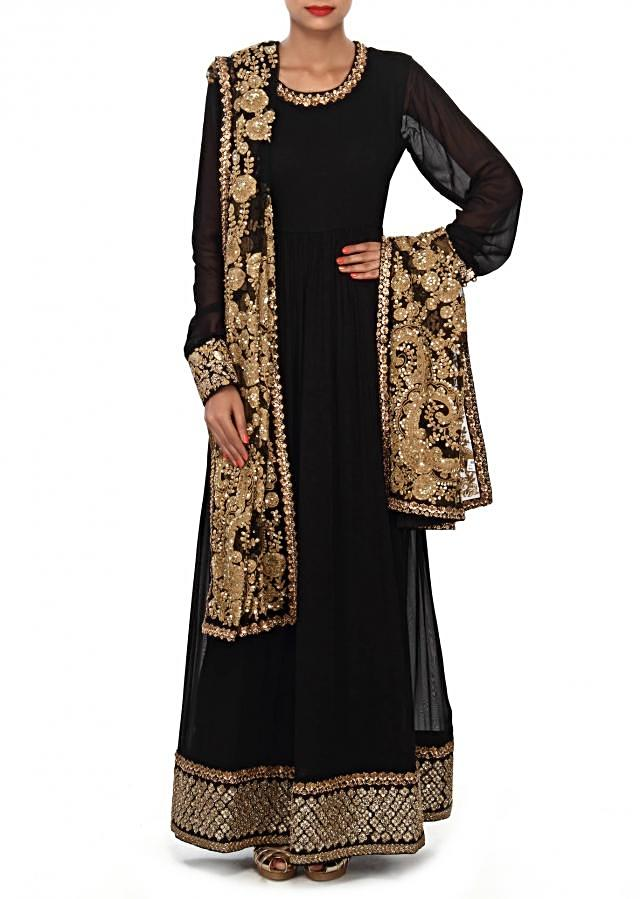 Black anarkali suit embellished in sequin and thread embroidery only on Kalki