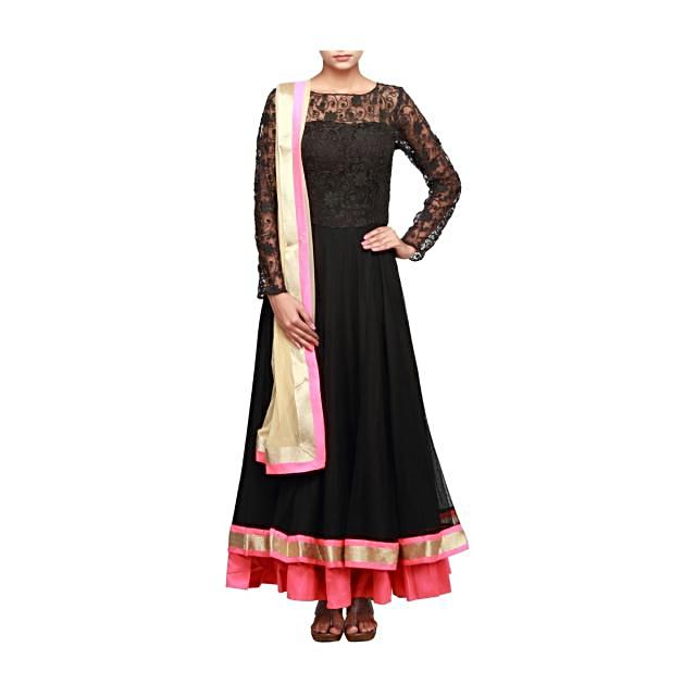 Black anarkali suit embroidered in thread embroidery only on Kalki