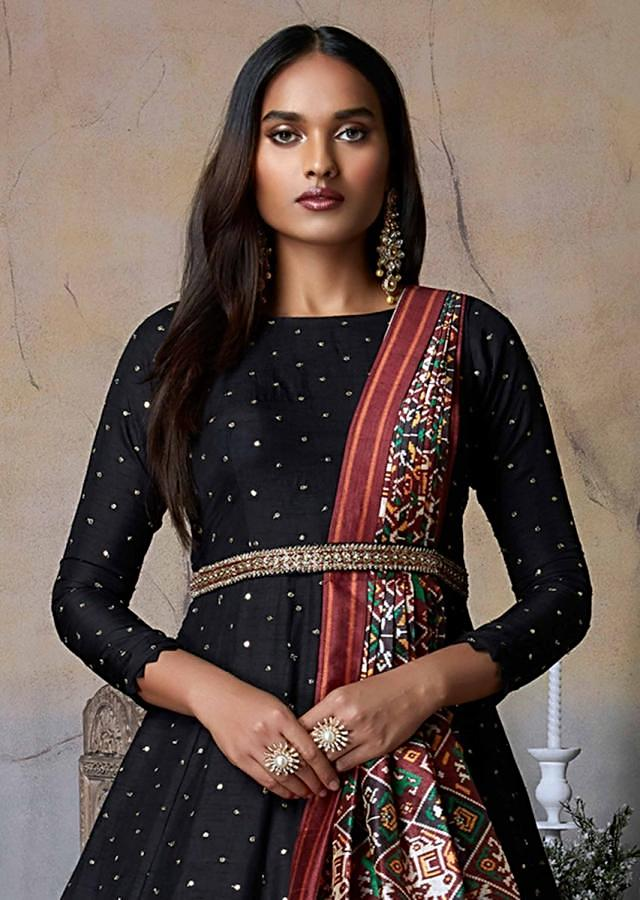 Black Anarkali Suit In Cotton Silk With Sequins And Zari Buttis All Over Online - Kalki Fashion