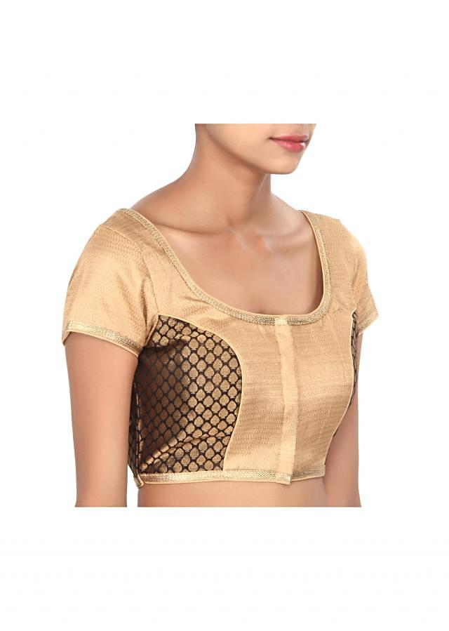 Black and beige blouse highlighted in gold lace only on Kalki