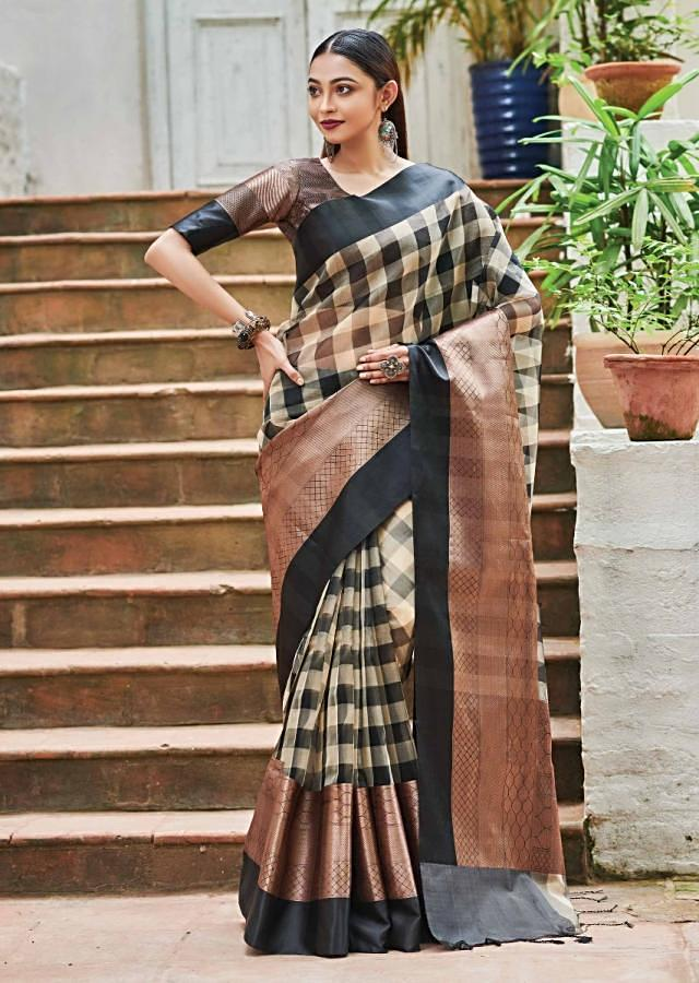 Black And Beige Saree In Kota Silk With Check Pattern And Rust Weaved Border Online - Kalki Fashion