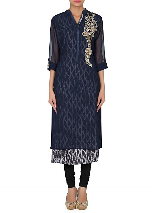 Black and blue kurti adorn in resham and kundan only on Kalki