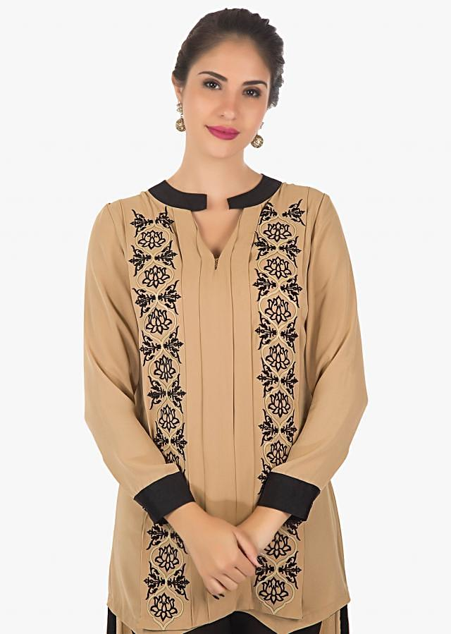 Black and brown kurti featuring in velvet  patch only on Kalki