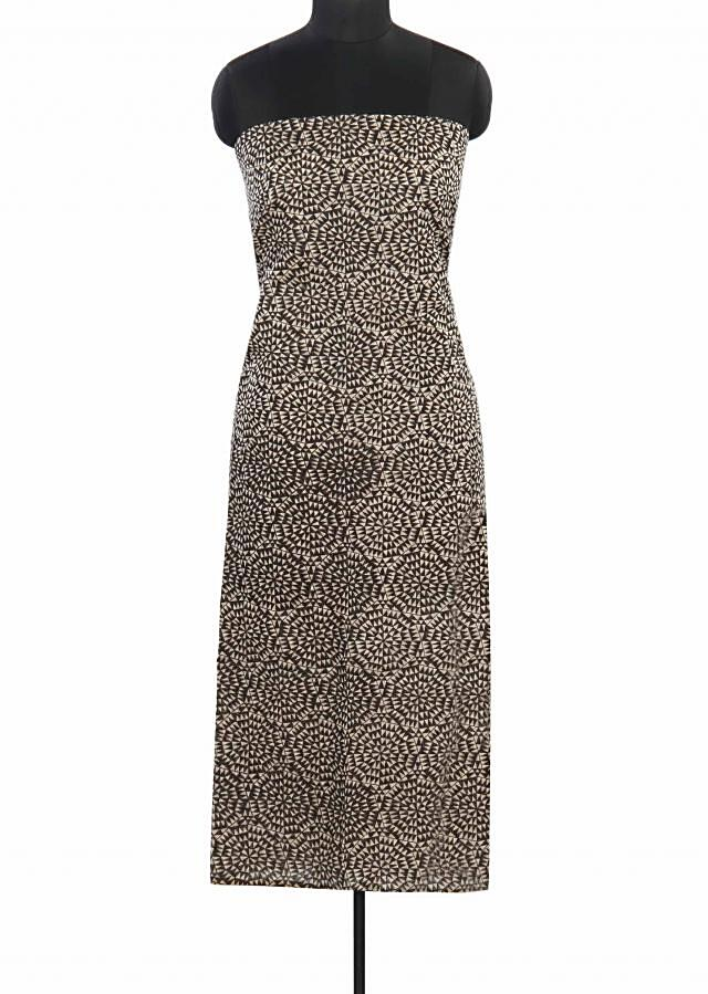 Black and cream unstitched suit in geometric print only on Kalki