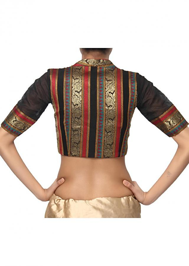 Black and gold paan neck embroidered blouse