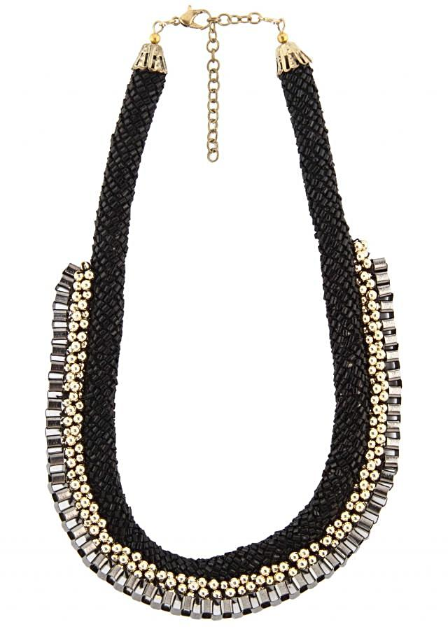 Black and grey necklace features in moti only on Kalki