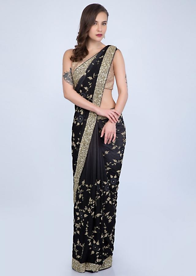 Black and grey shaded heavy embroidered satin chiffon saree only on Kalki