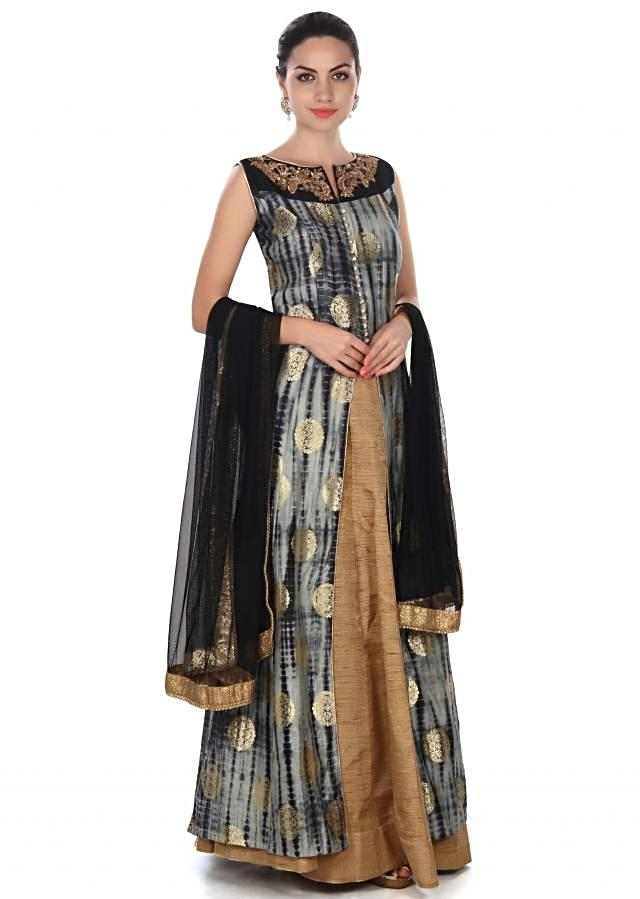 Black and grey top with embroidered neckline only on Kalki