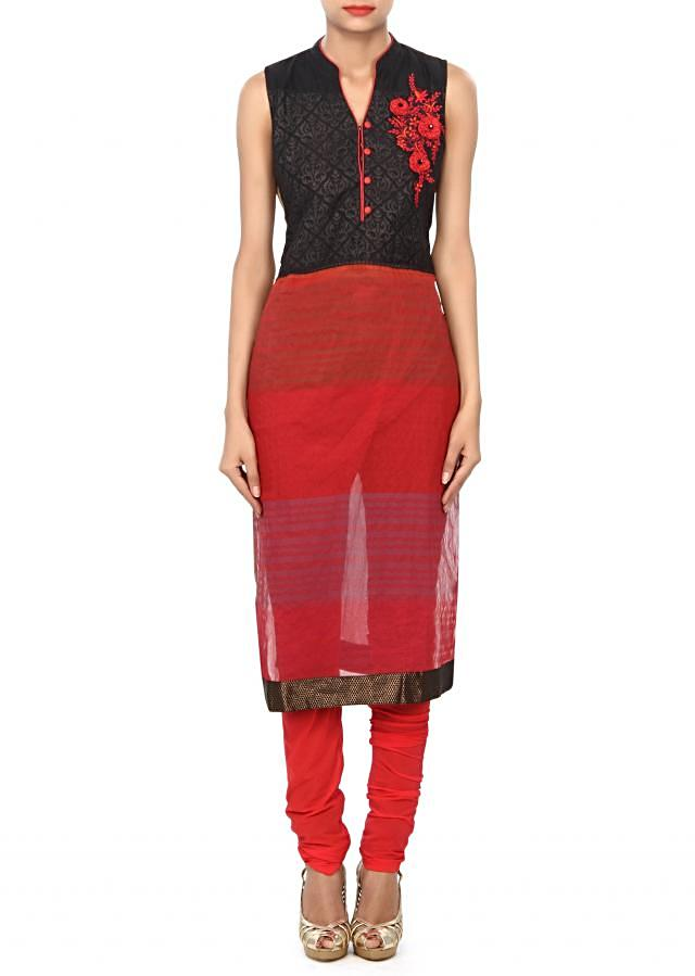 Black and maroon kurti embellished resham embroidery only on Kalki