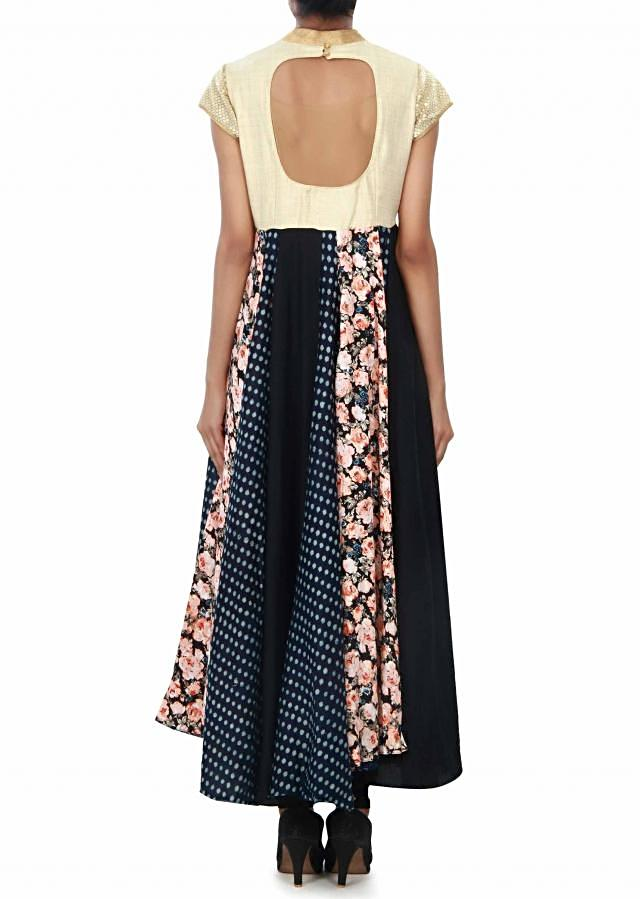 Black and navy blue anarkali suit enhanced in thread and sequin embroidery only on Kalki