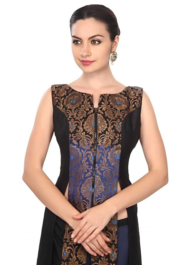 Black and navy blue suit in brocade only on Kalki