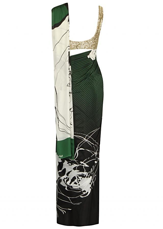 Beautiful black and olive green saree with abstract print only on Kalki