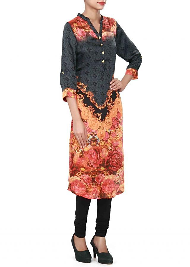 Black and orange kurti adorn in digital print only on Kalki