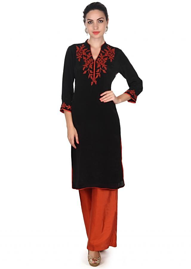 Black and orange suit embellished in thread and print only on Kalki