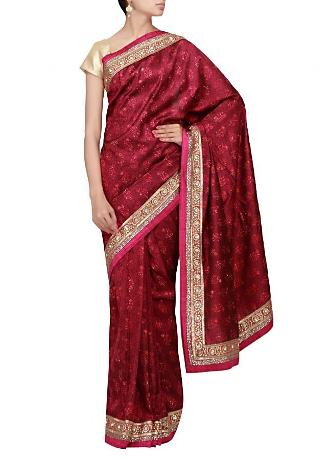 Black and pink upada saree with embroidered border
