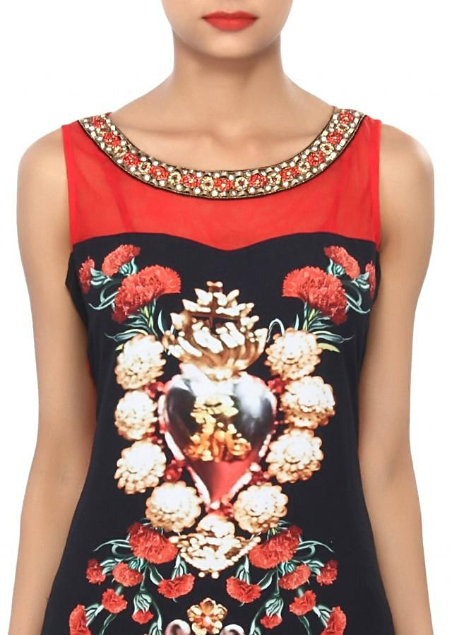 Black and red printed kurti embellished in moti embroidery only on Kalki