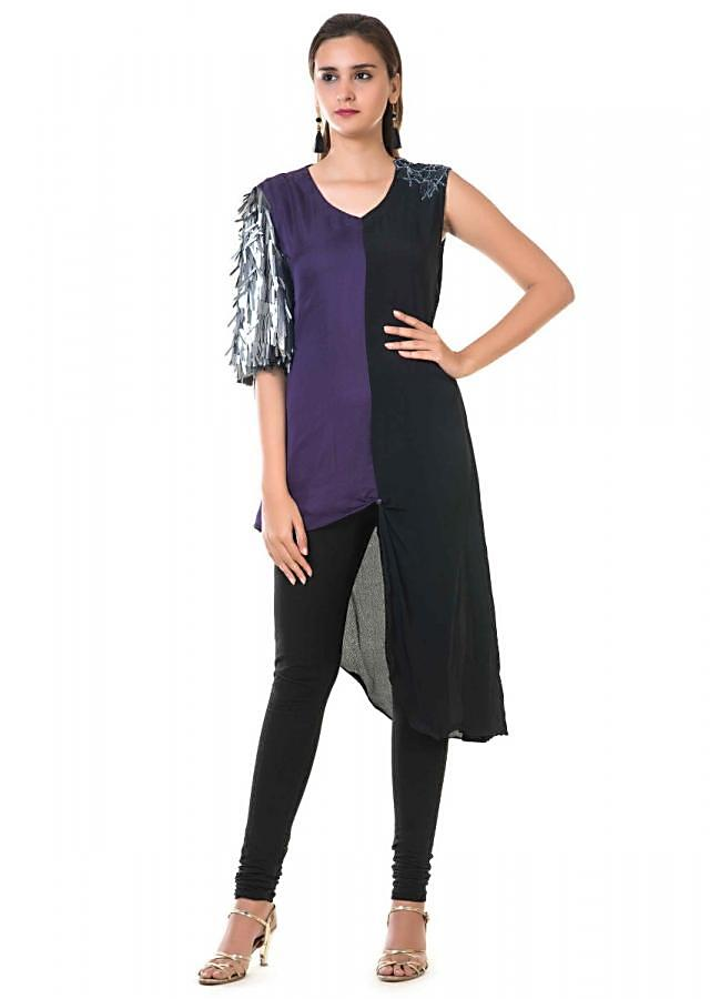 Black And Violet High Low Tunic With Embroidery And Metal Sequins Sleeves Online - Kalki Fashion