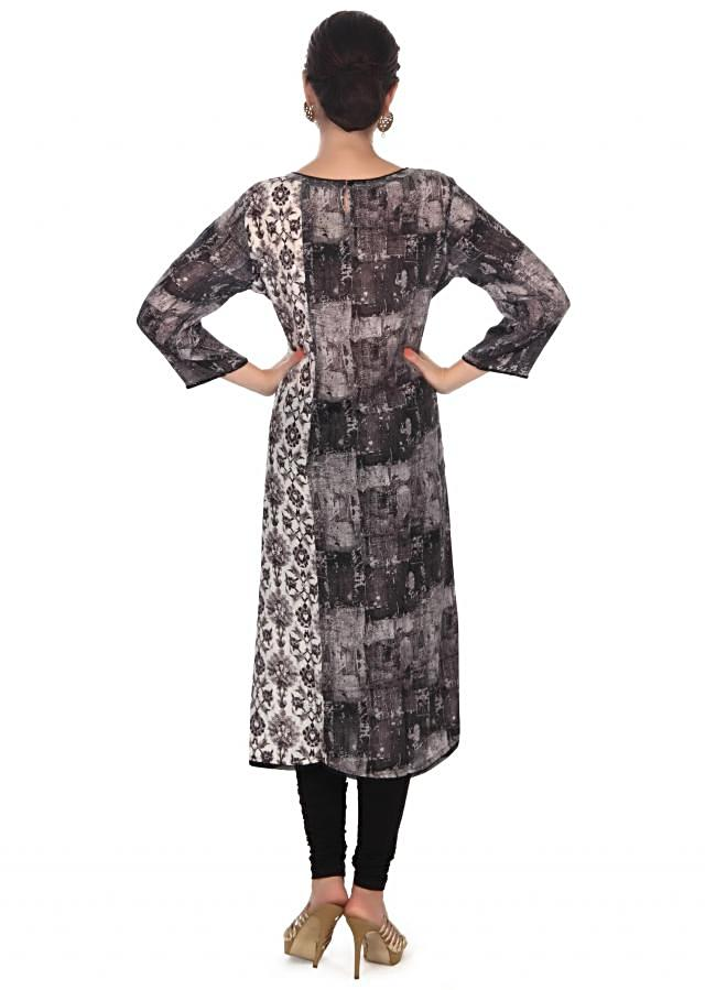 Black and white printed kurti in resham embroidery only on Kalki